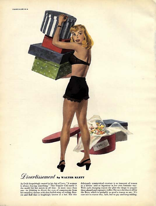 Esquire pin-up page Worldliness by Ben-Hur Baz / Divertissement by Klett 1947
