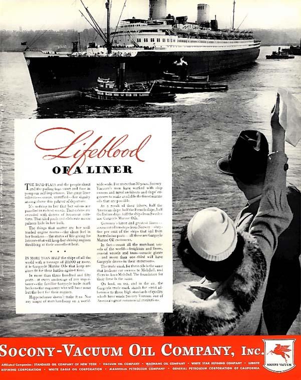 Lifeblood of Norddeutscher Lloyd S S Bremen Socony-Vacuum Oil ad 1935 F