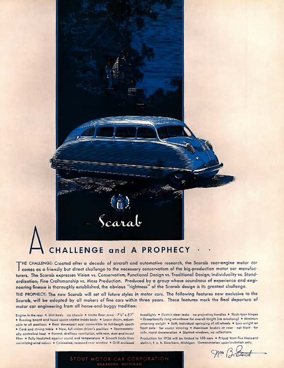 A challenge and a prophecy - Scarab Automobile by Stout ad 1935 F