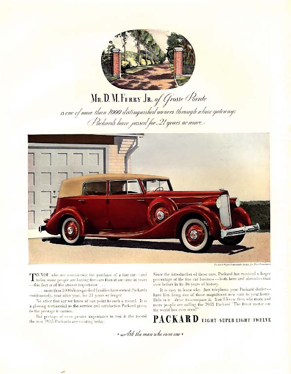 D M Ferry Jr of Grosse Pointe for Packard 8 Convertible Sedan ad 1935 F
