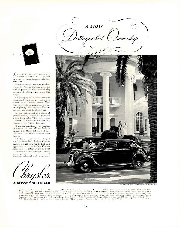 A Most Distinguished Ownership Chrysler Airflow Eight ad 1935 F