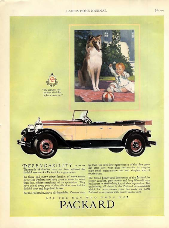 Dependability . . . Packard 4-door touring car ad 1927 LHJ