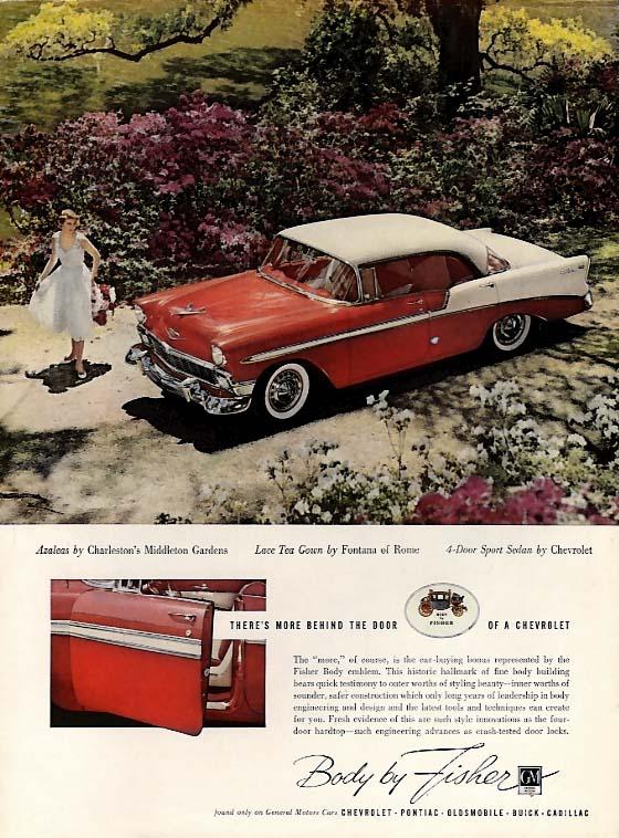 Azaleas by Middleton Gardens - 4-door Sport Sedan by Chevrolet Bel Air ad 1956