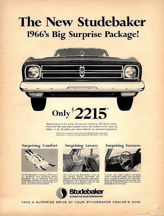 1966's Surprise Package! Only $2215 Studebaker ad 1966 L