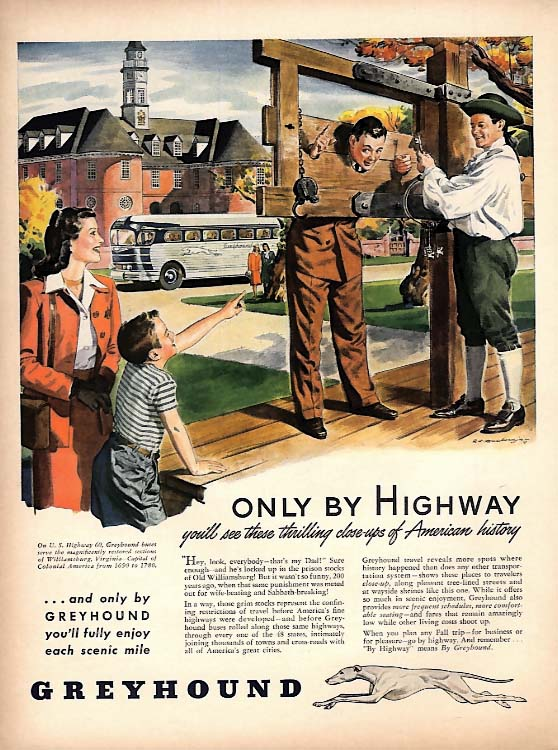 Only by Highway- Williamsburg pillory - Greyhound Bus ad 1946 L