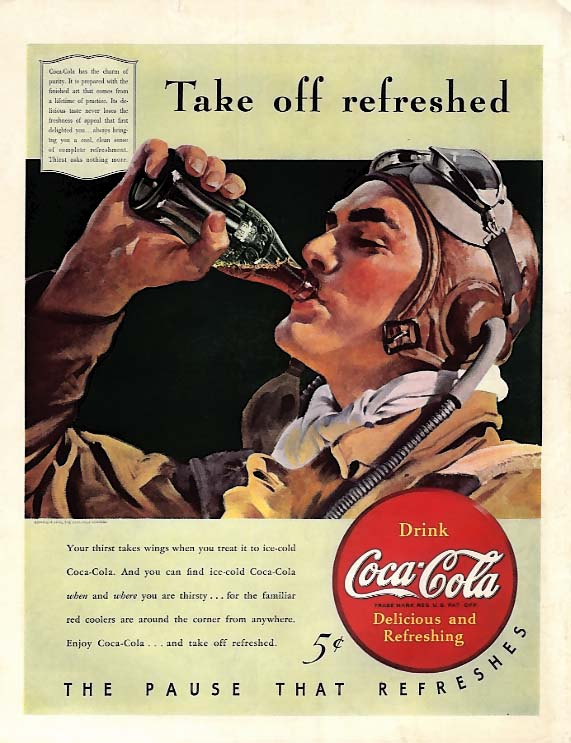 Take off refreshed Coca-Cola ad 1940 fighter pilot goggles