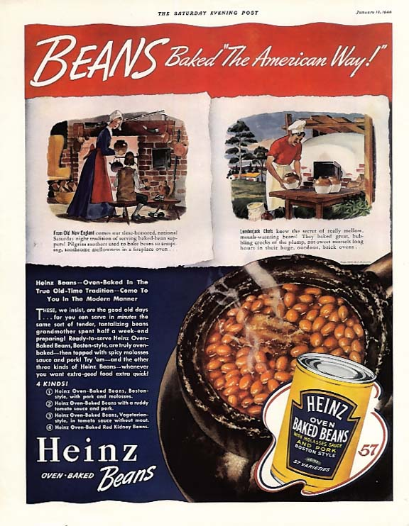 Beans baked the American Way - Heinz Oven Baked Beans ad 1940 SEP