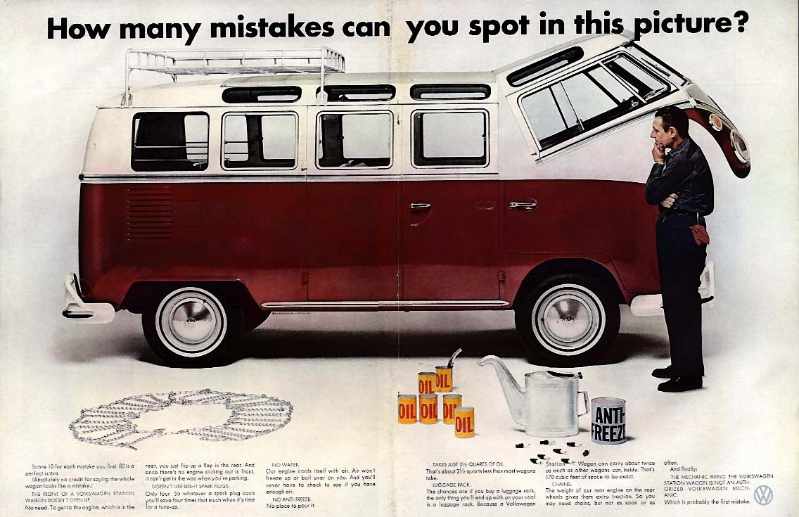 How many mistakes can you spot in this picture? Volkswagen Bus ad 1967 L