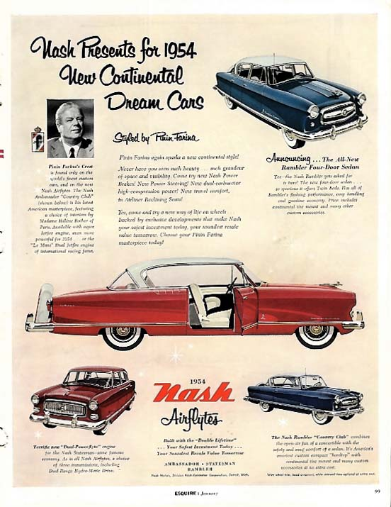 Image for Continental Dream Cars styled by Pinin Farina - Nash Airflytes ad 1954 Esq
