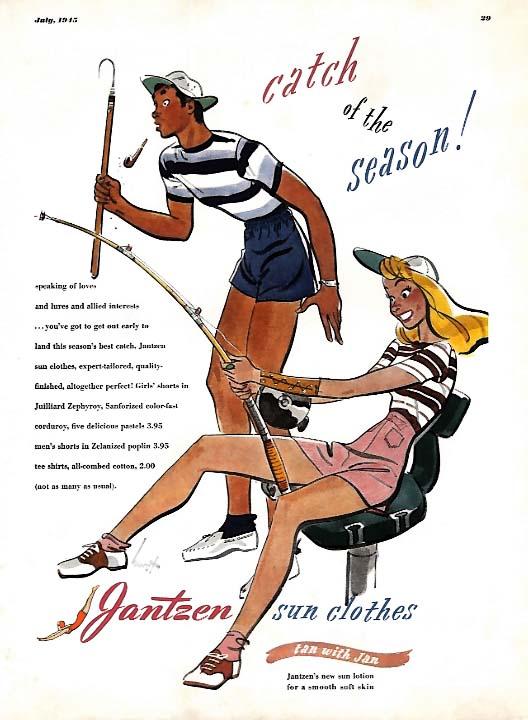 Catch of the Season! Jantzen Sun Clothes ad 1945 Hurst pin-up Esq