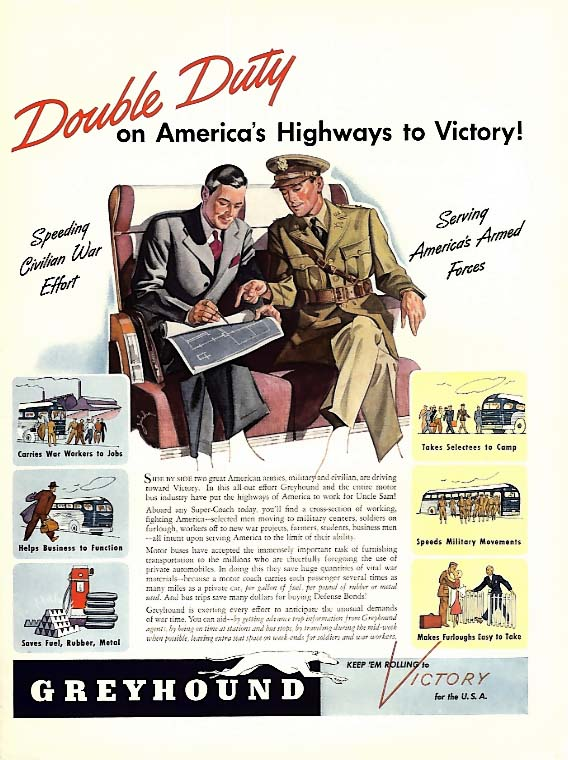 Double Duty on America's Highways to Victory! Greyhound Bus ad 1942 L