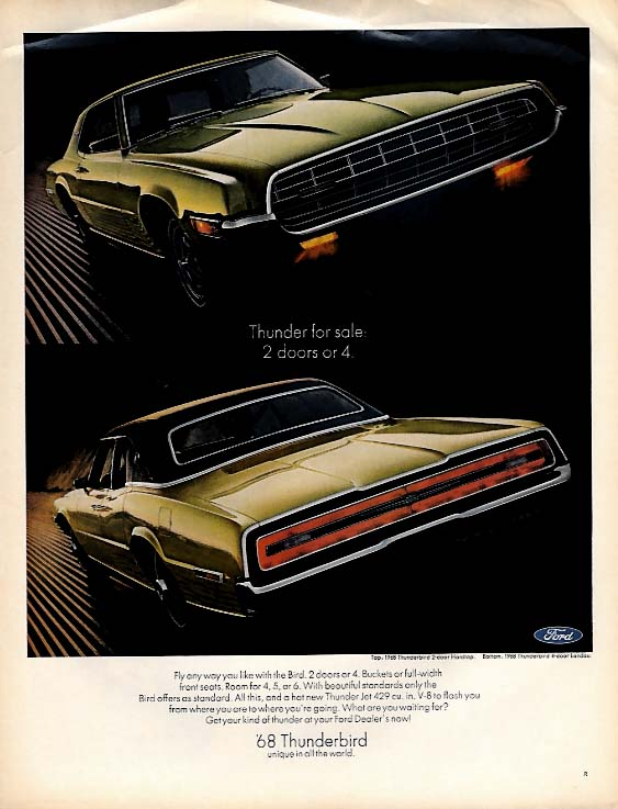 Image for Thunder for sale: 2 doors or 4. Ford Thunderbird ad 1968 L