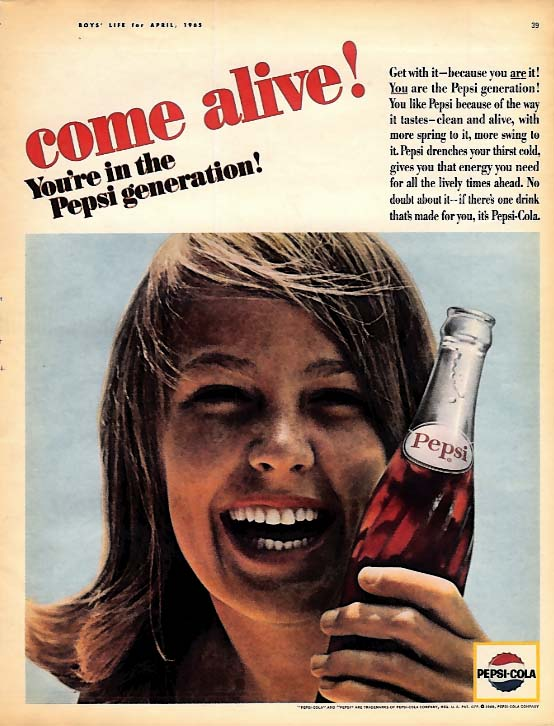 Come alive! You're in the Pepsi-Cola Generation! Ad 1965 freckle-faced girl