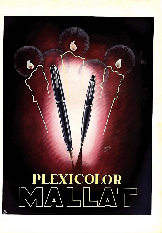 Image for Mallat Plexicolor fountain pen & pencil ad 1946 L'Illustration