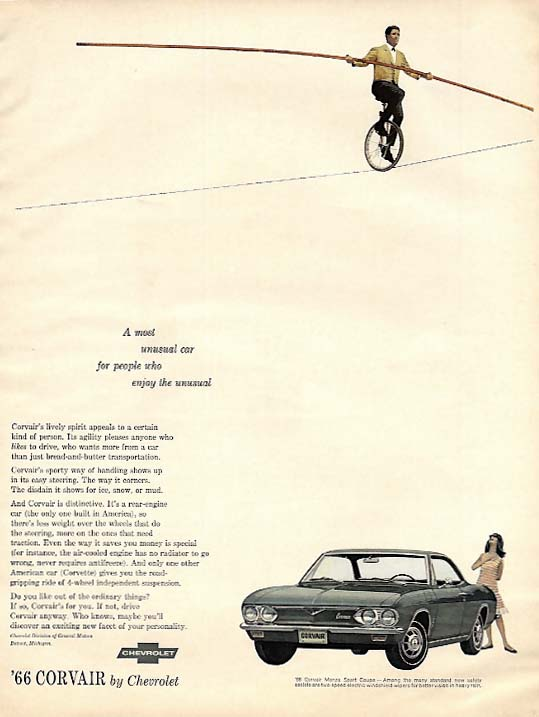 A car for people who enjoy the unusual Corvair ad 1966 unicycle tightrope act