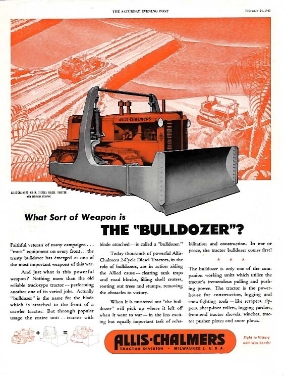 Image for What sort of weapon is the Bulldozer? Allis-Chalmers HD-14 tractor ad 1945 SEP
