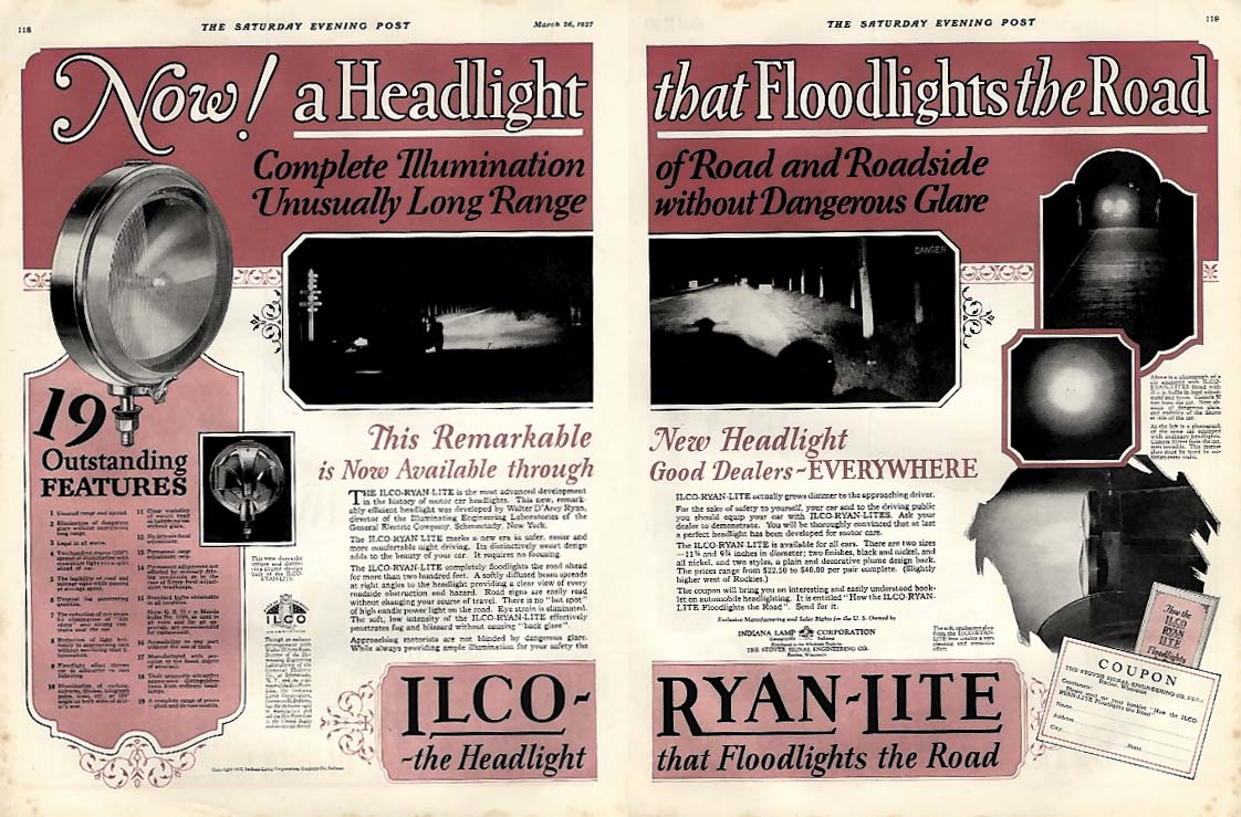 Now! A Headlight that Floodlights the Road - Ilco-Ryan-Lite ad 1927