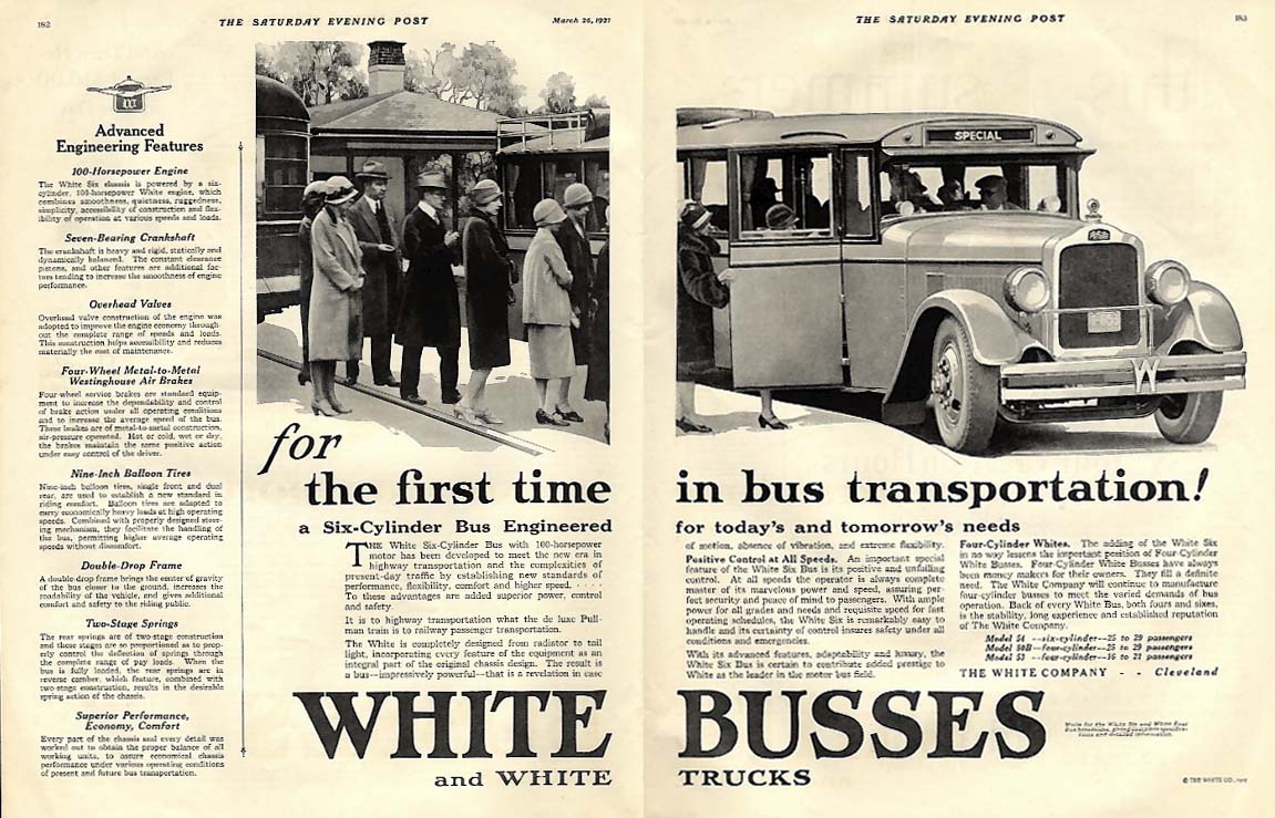 1st time! A 6-Cylinder Bus Enginnered for today & tomorrow White Bus ad 1927 P