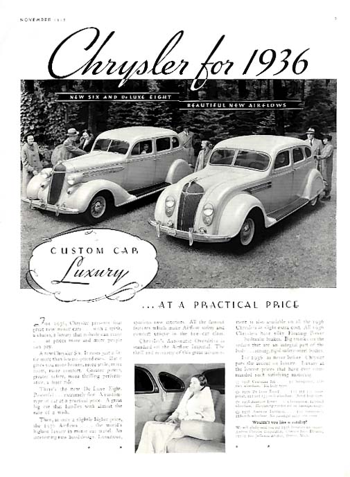Image for Custom Car Luxury at a Practical Price Chrysler 6 8 & Airflow ad 1936