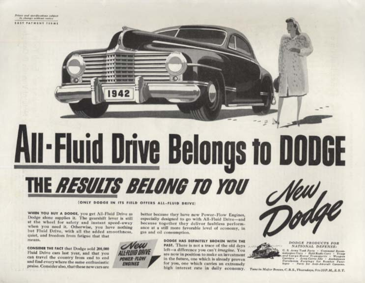 All-Fluid Drive Belongs to Dodge ad 1942 SEP