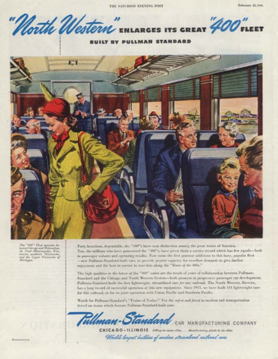 Chicago & North Western Railroad 400 Fleet Pullman ad 1946 SEP