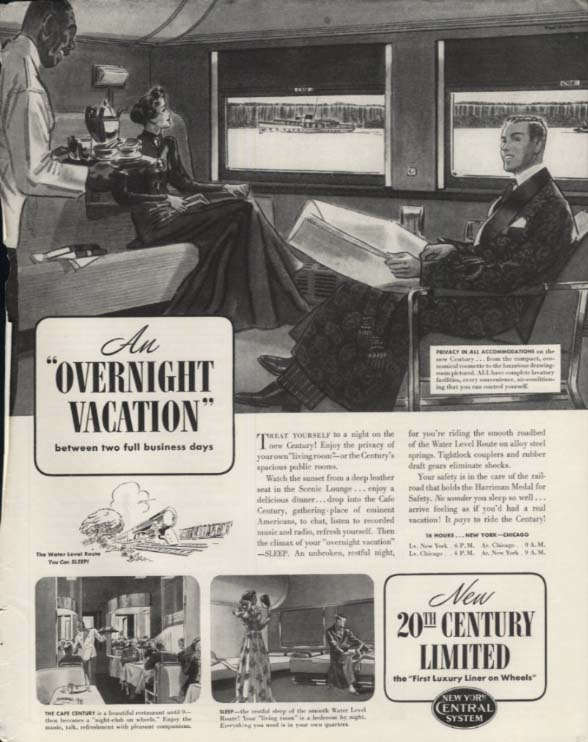An Overnight Vacation on New York Central RR 20th Century Limited ad 1938 SEP