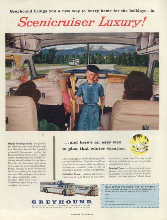 Hurry home in Greyhound Scenicruiser Luxury! Bus ad 1956 H