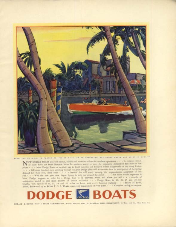 Tarpon sailfish sunshine lure northern sportsmen Dodge 16-foot runabout ad 1931