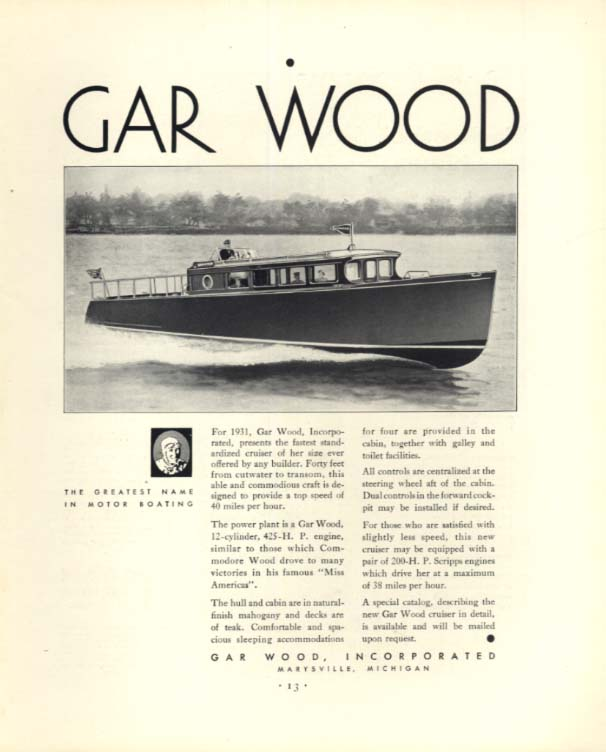 Fastest standardized cruiser in her size Gar Wood 40-foot 12-cylinder ad 1931 F