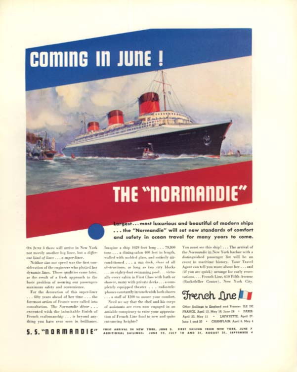 Coming in June S S Normandie / Lincoln Le Baron Convertible Roadster ad 1935
