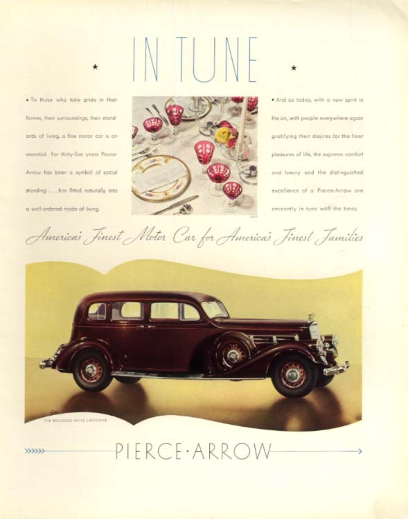 In tune with those who take pride - Pierce-Arrow Enclosed Limousine ad 1935