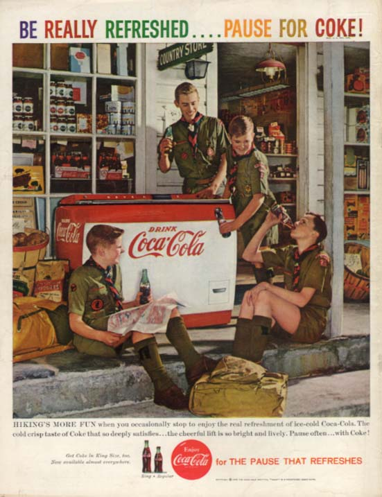 Hiking's more fun when Boy Scouts stop at Coca-Cola cooler ad 1959 BL