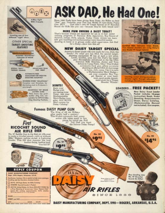 Ask Dad, He Had One! Daisy Air Rifle BB Gun ad 1960 BL