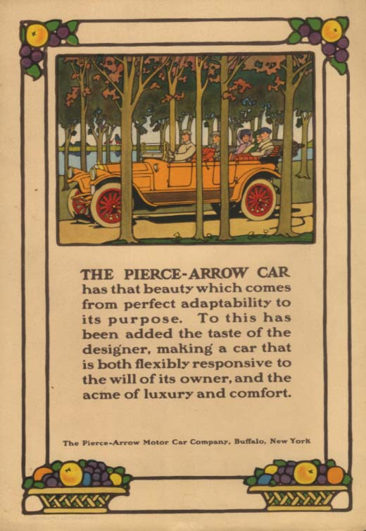 Beauty which comes from perfect adaptability Pierce-Arrow Touring Car ad 1914