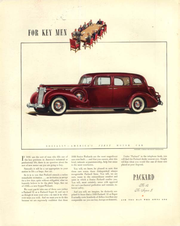 For Key Men in professional life Packard 12 Sedan for Seven ad 1938 F