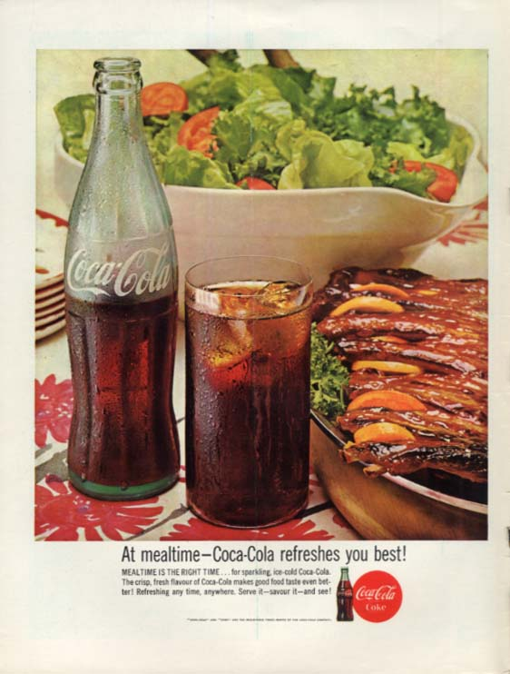 At mealtime - Coca-Cola refreshes you best! Ad 1963 ribs & salad