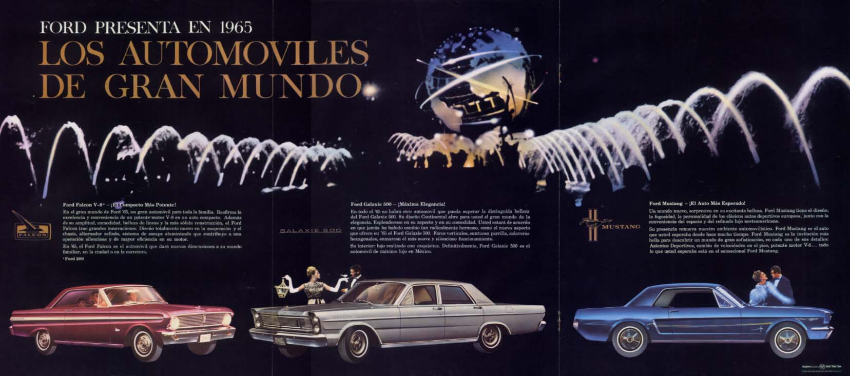 Image for NY World's Fair Ford Falcon Galaxie 500 Mustang ad in Spanish 1965