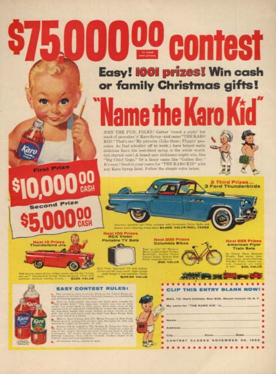 Image for $75,000 Name the Karo Kid Contest Ford Thunderbird ad 1956 L