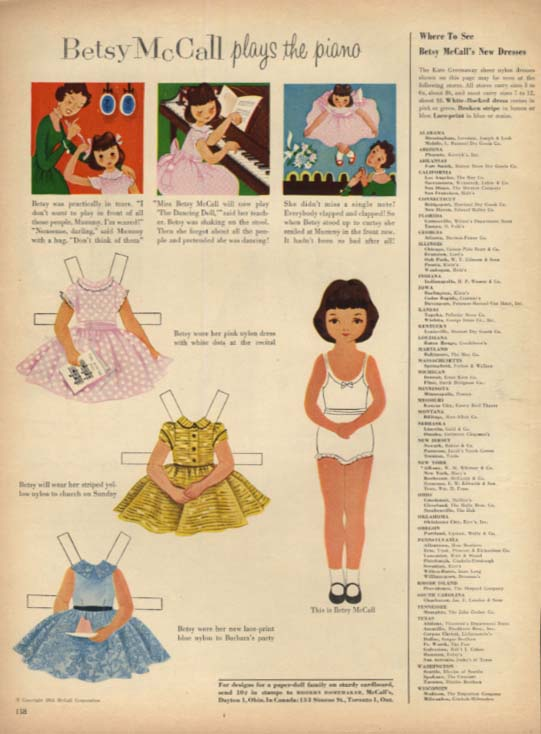 Betsy McCall plays the piano paper doll magazine page 1954