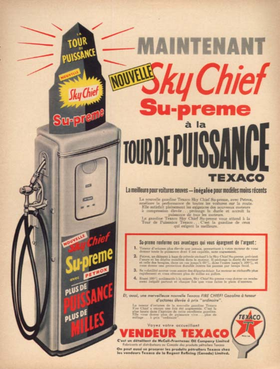 Image for Nouvelle Texaco Sky Chief Su-Preme puissance ad in French 1957