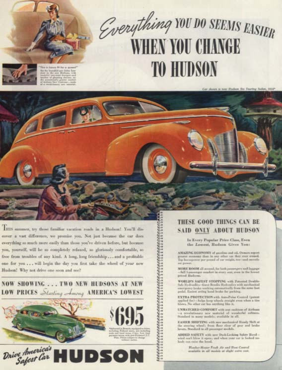 Everything you do seems easier Hudson Six Touring Sedan ad 1939 SEP