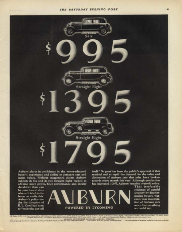 $995 - $1395 - $1795 Auburn Six & Eight ad 1929 SEP