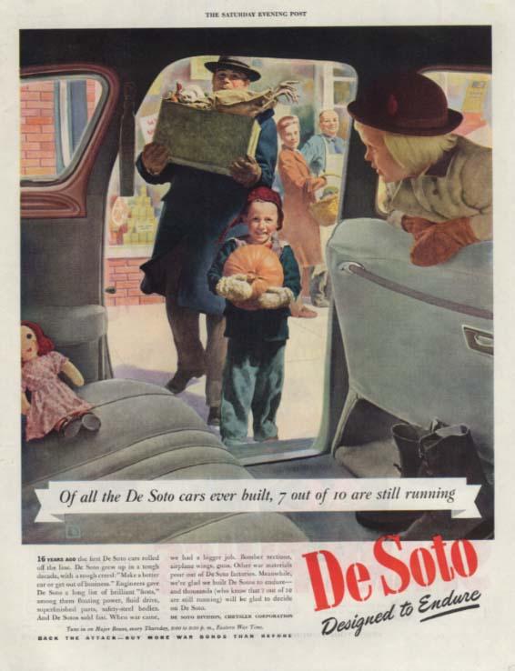 7 of 10 De Sotos built are still running ad 1942 Thanksgiving shopping Crockwell