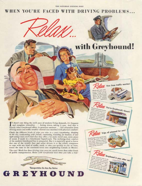 Faced with driving problems? Relax with Greyhound! Bus ad 1948 SEP
