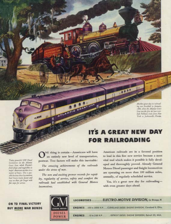 It's a Great New Day GM Diesel Altantic Coast Line freight train ad 1945 SEP