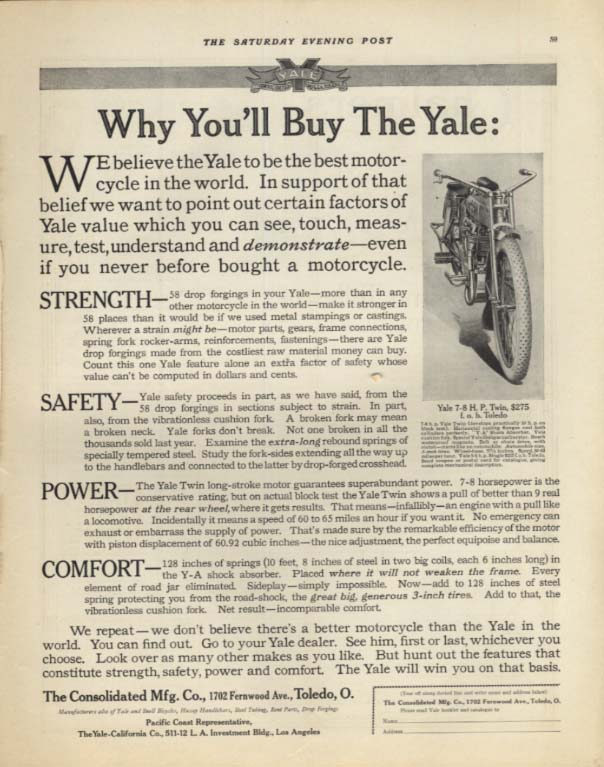 Image for Why You;ll Buy the Yale 7-8 H P Twin Motorcycle ad 1913 SEP