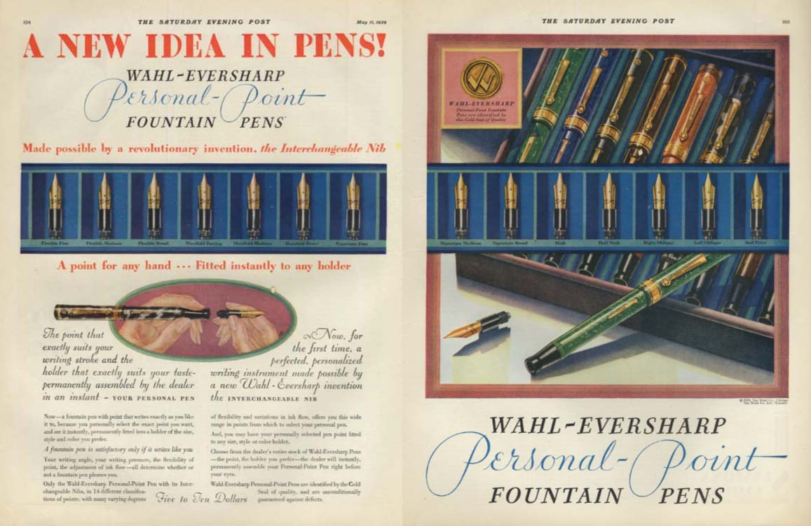 Image for A New Idea in Pens! Wahl-Eversharp Personal Point Pens ad 1929 SEP