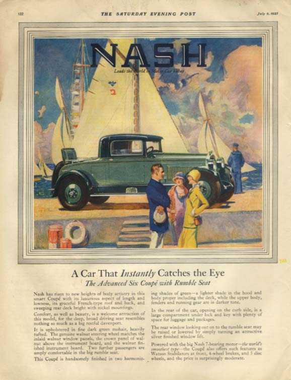 The Car That Instantly Catches the Eye Nash Rumble Seat Coupe ad 1927 SEP