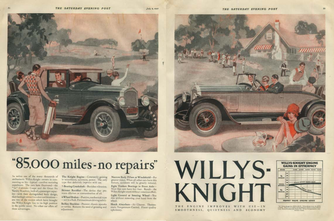 85,000 miles - no repairs Willys-Knight Rumble Seat Coupe ad 1927 SEP golf