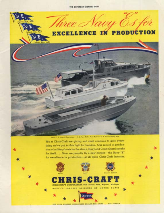 US Amry Q Boat US Navy Picket Boat & Landing boat Chris-Craft ad 1943 SEP